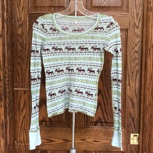 Free People Reindeer long sleeve shirt size Small